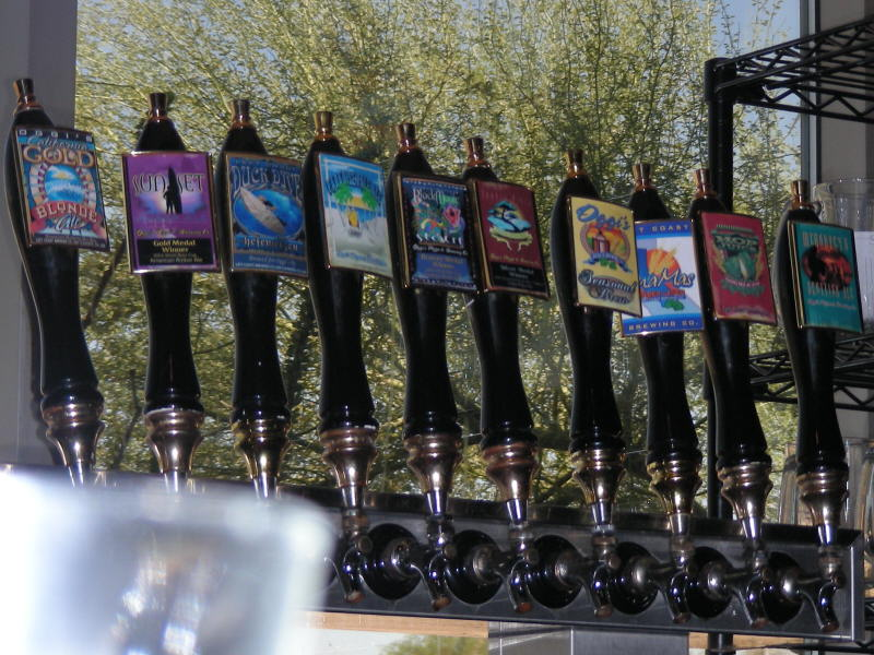 Taps behind the bar