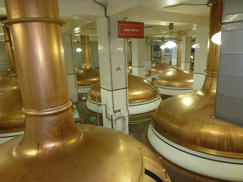 A few of the many brew kettles
