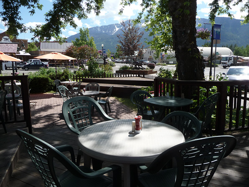 The patio under the shade trees, with a view of the nearby mountians