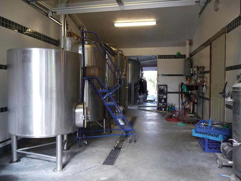 The brewery through the open garage door