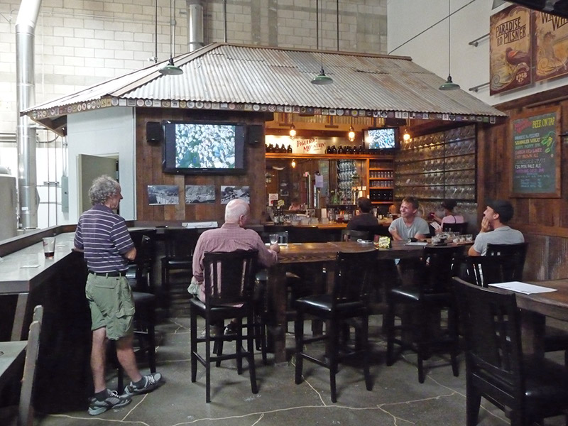 The bar area in the brewery
