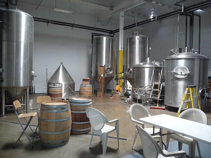 The brewing tanks and fermentors and more seating