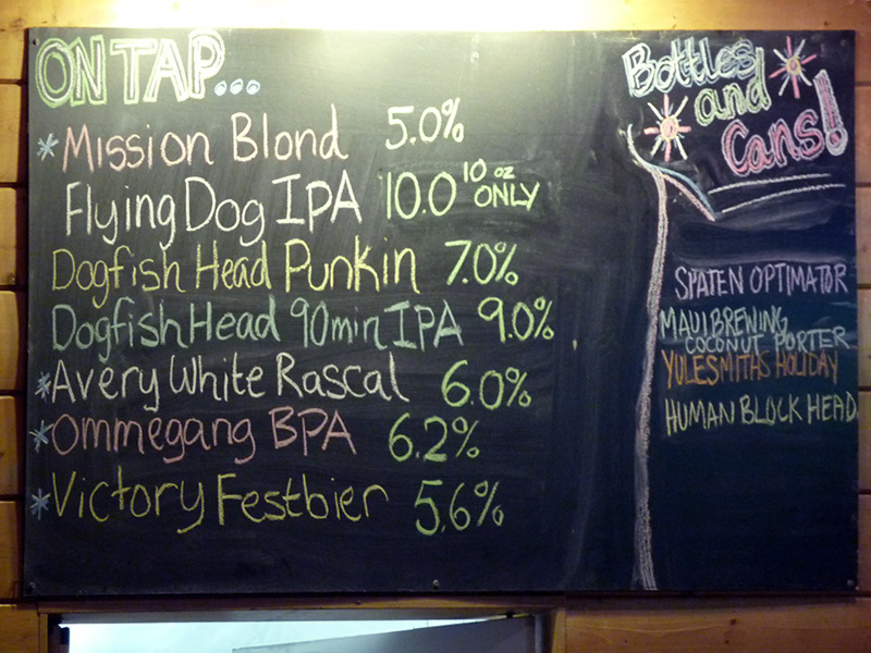 The tap list
