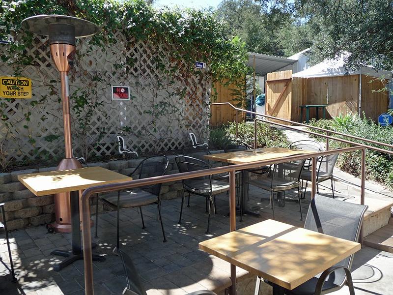 The beer garden in back