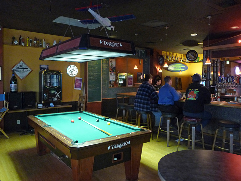 The pool table in the bar area