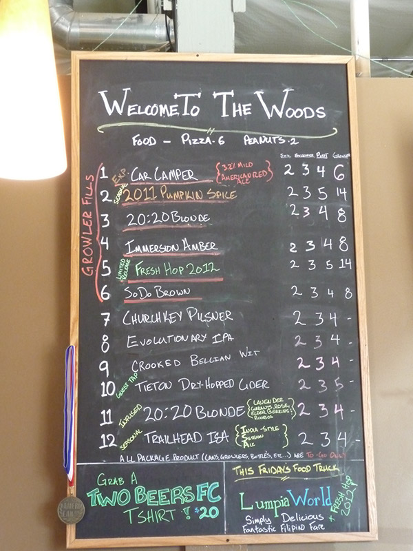 The beer menu on 9/1/2012