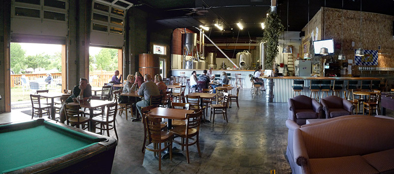 A panoramic view of the taproom