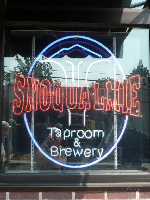 The neon sign in the window