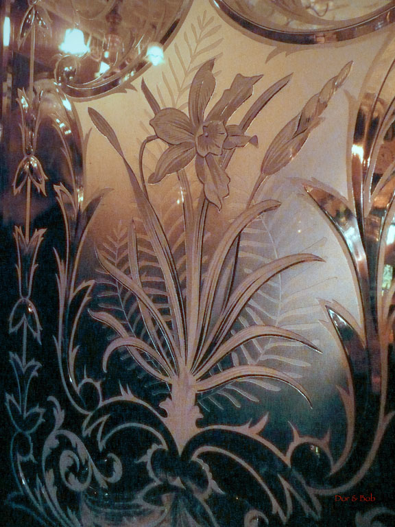 One of the old Victorian etched glass mirrors