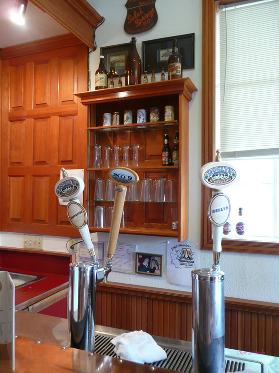 the tap handles at the bar in the front tasting room