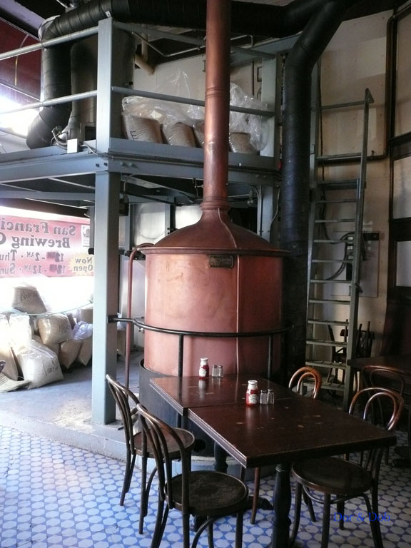 The mash tun and seating near the corner entrance