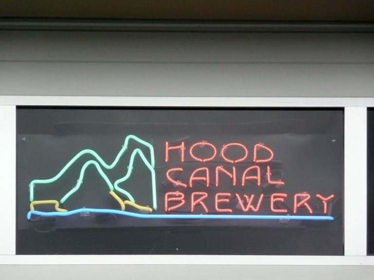 The neon sign above the entrance