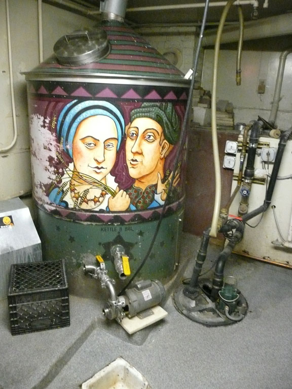 The brew kettle in the basement