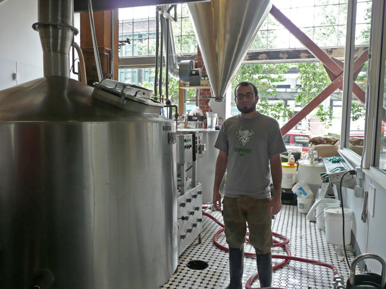 A brewer at work in the brewery