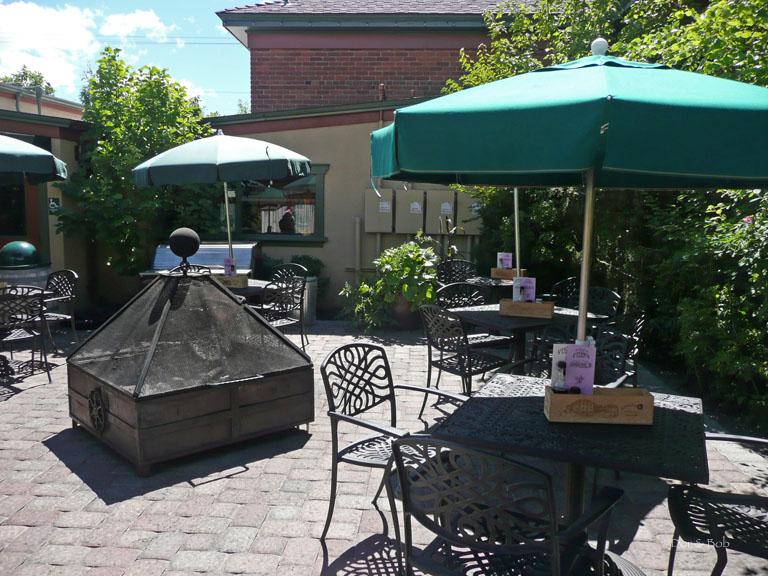 Outdoor seating in the beer garden