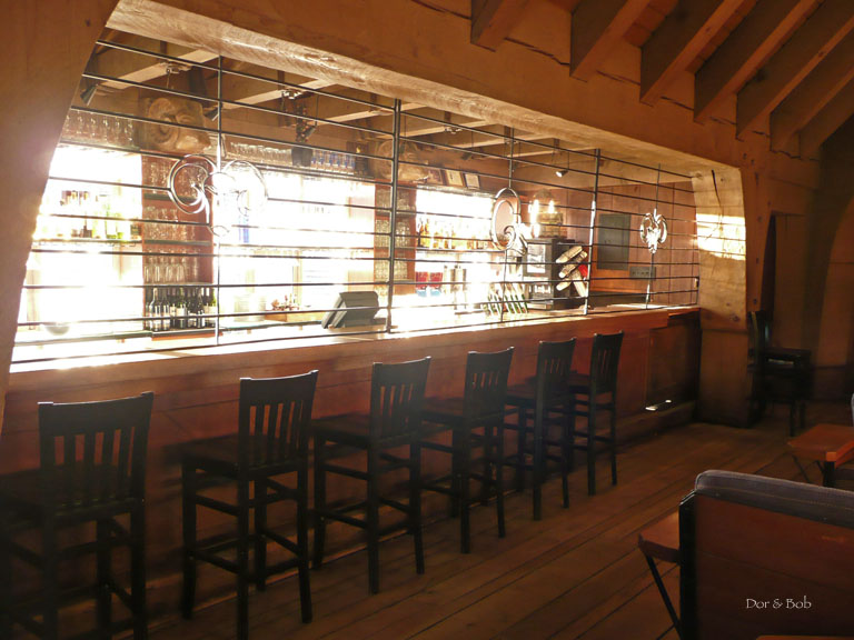 The bar with the early morning light streaming through the windows
