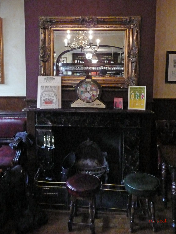 The fireplace in the front of the main room
