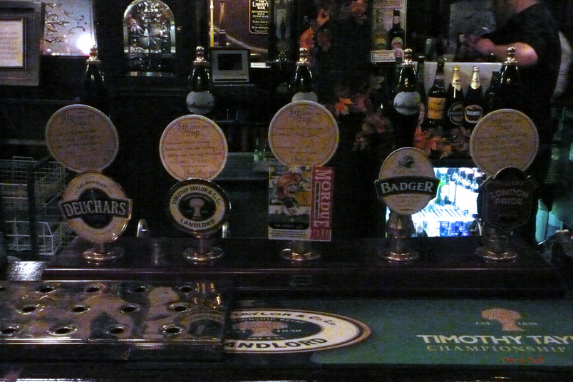 The tap handles at the bar