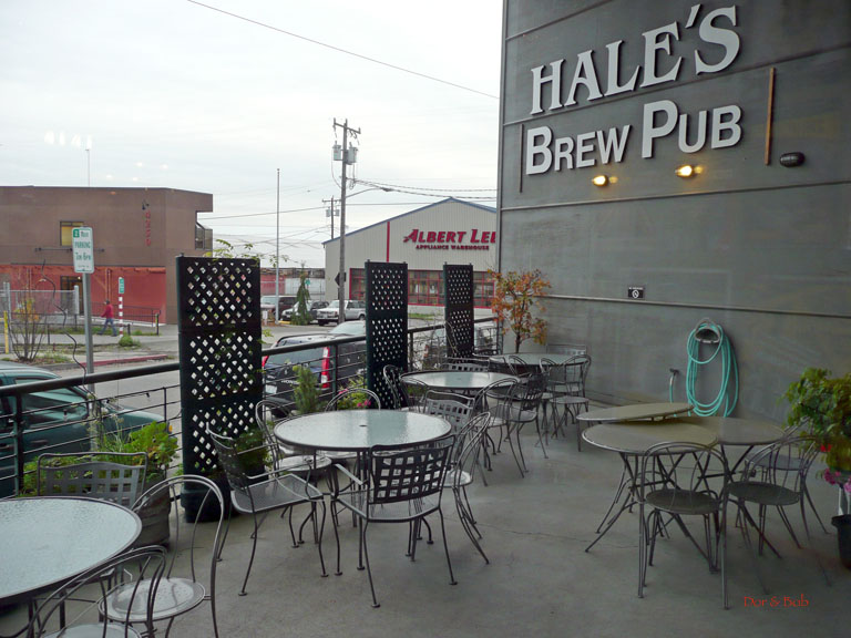 The outdoor tables on the patio