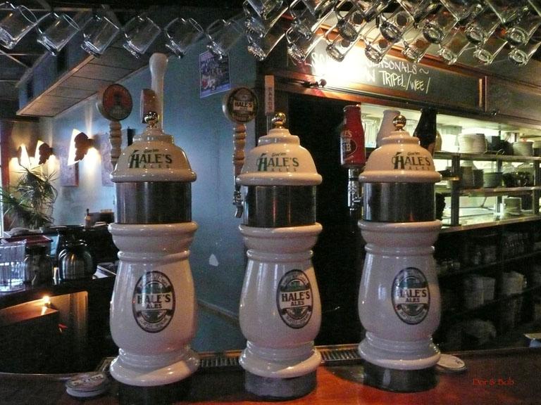 The tap handles at the bar