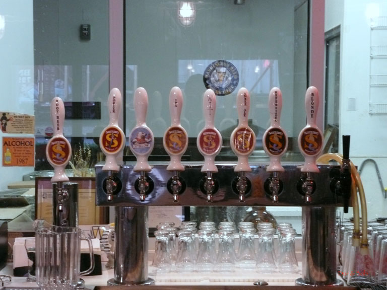 The tap handles behind the bar