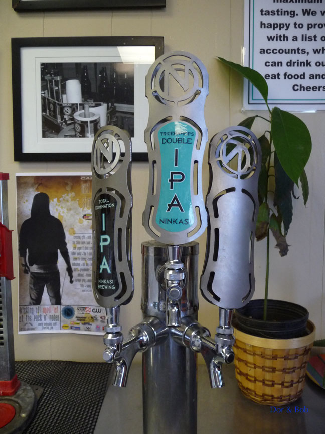 Some of the tap handles in the tasting room