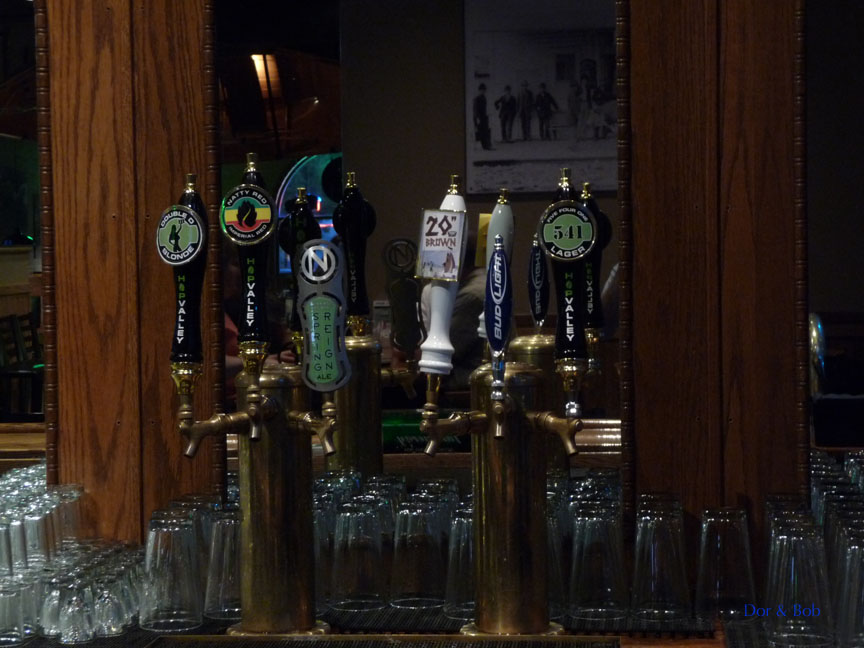 Some of the tap handles behind the bar