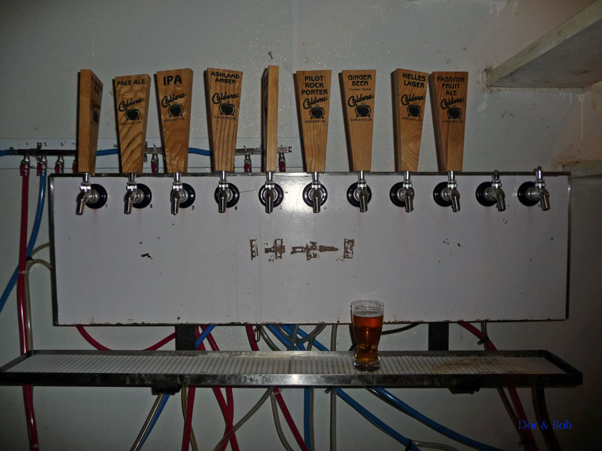 The tap handles in the tasting / cold storage room