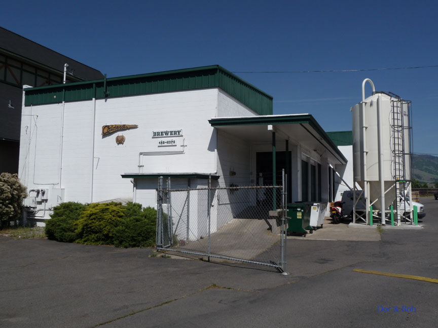 The entrance to the brewery and the grain silo