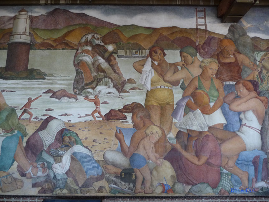 One of the iconic murals on the first floor