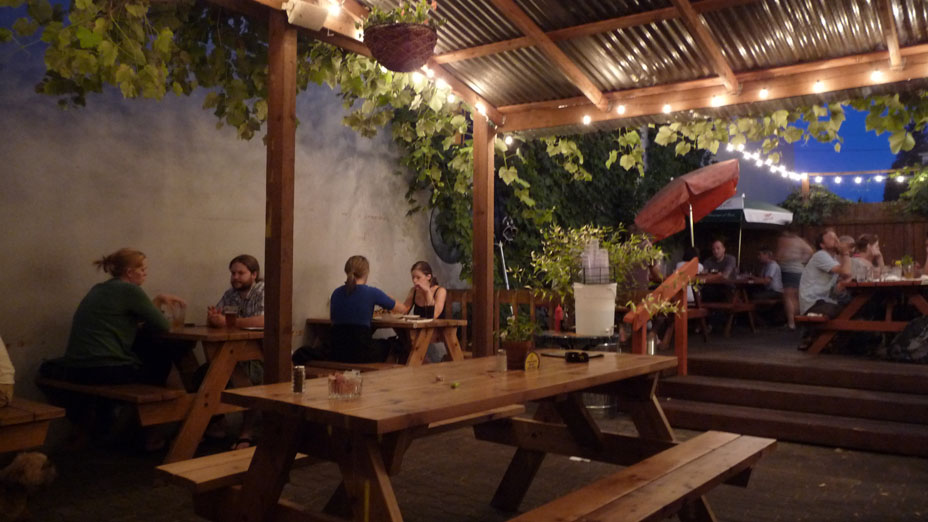 The covered beer garden in the evening