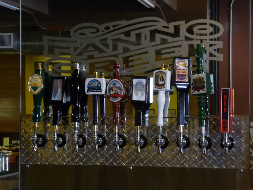 The taps behind the bar