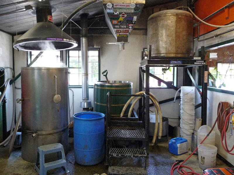 The brewing tanks