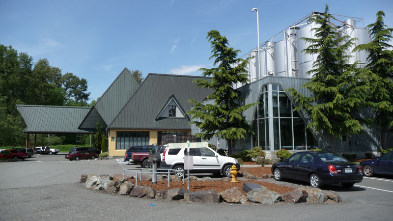 The brewery and pub from the parking lot