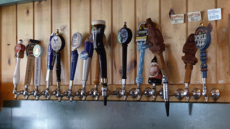 The tap handles at the left behind the bar