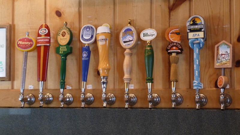 The tap handles at the right behind the bar