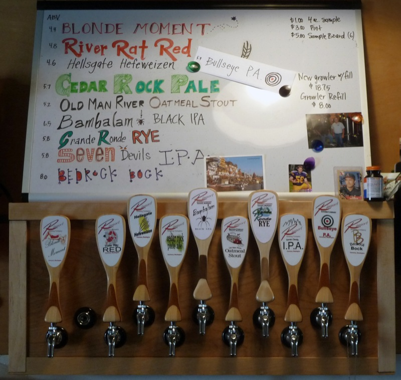 The tap handles and beer menu