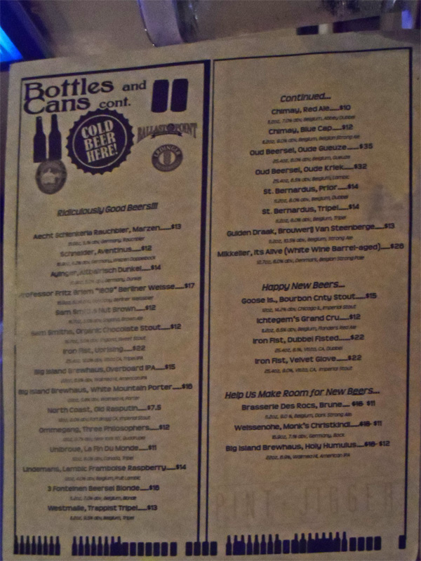 Portion of bottle list