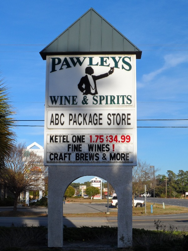 Pawleys sign on the highway