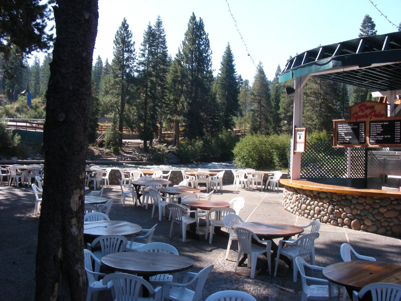 Patio seating on the river