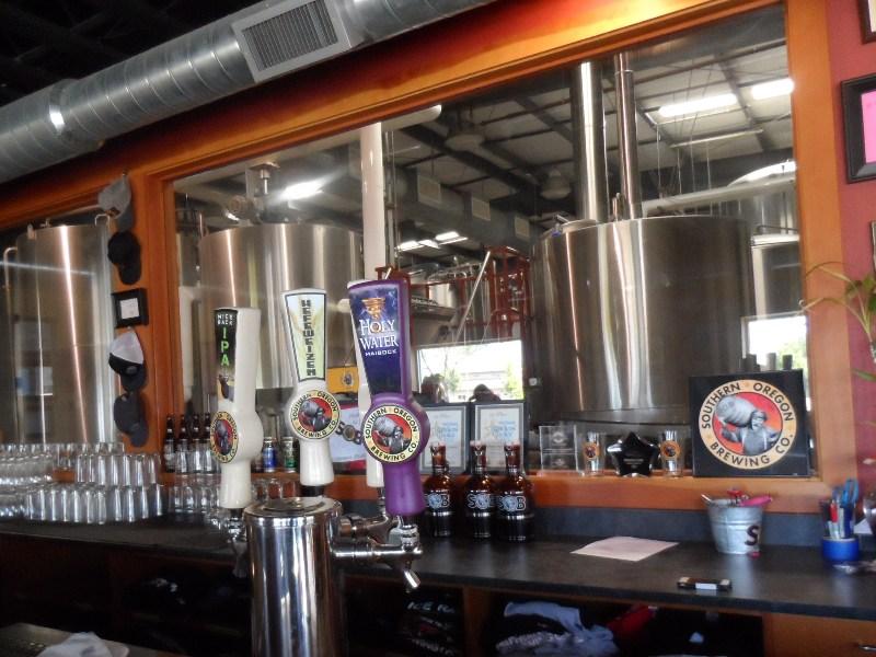 Brew Room window behind bar