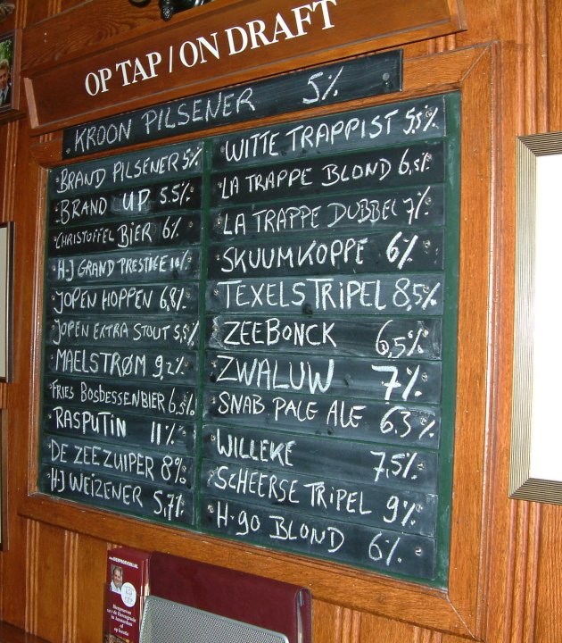 On the slate: the ever-changing always-Dutch 't Arendsnest draught beer list