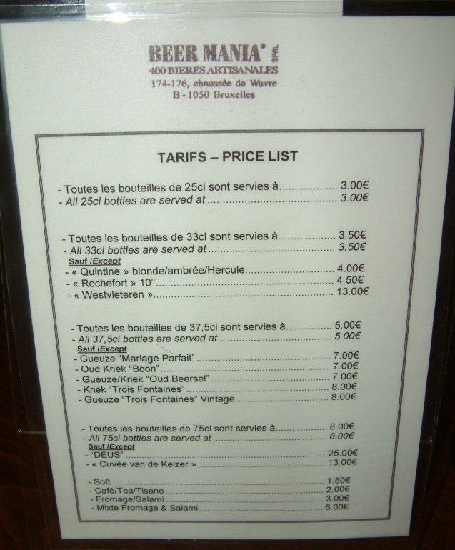 A simple approach: the café price list at Beer Mania