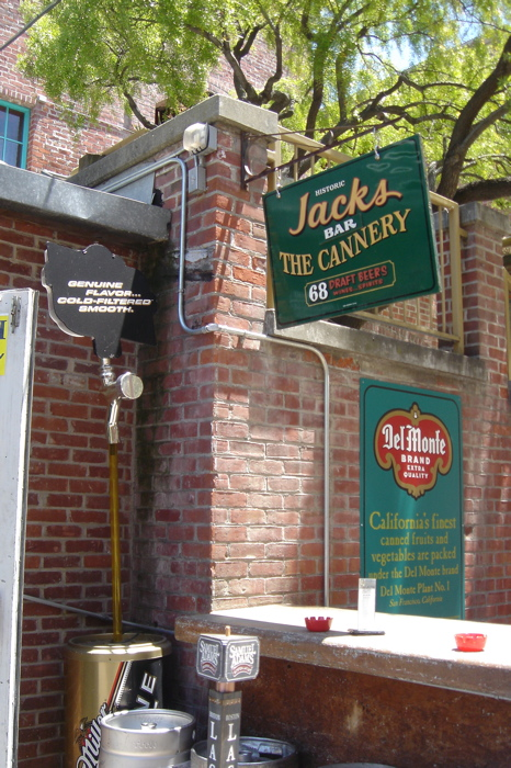 Jack's sign at the beer garden bar