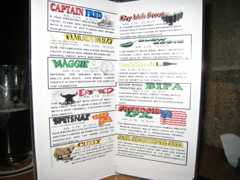 Grumpy Troll beer menu in March 2009