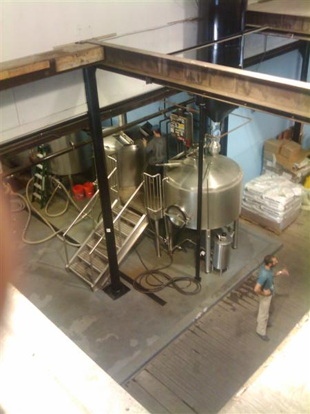 The brewhouse looking down from the second floor