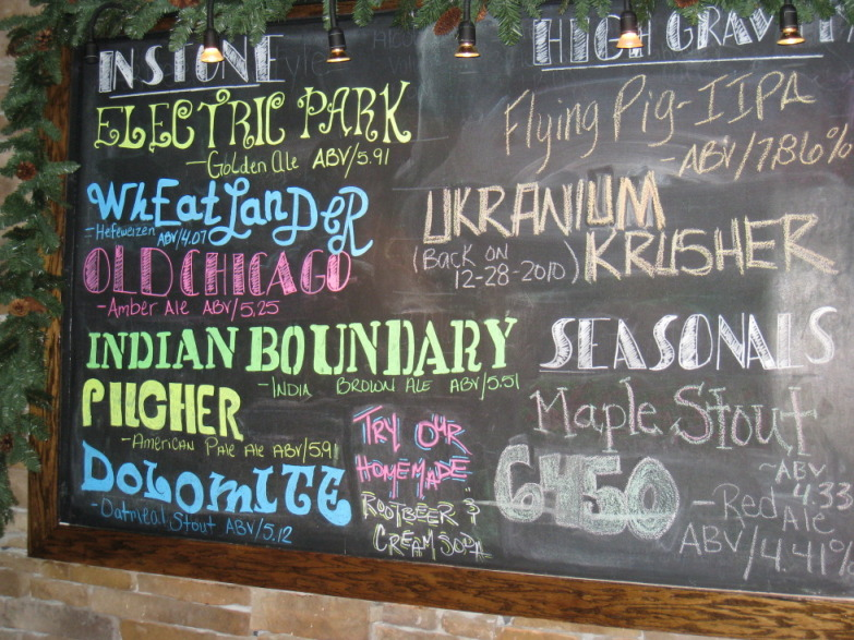 All of the LBC beers are listed on the chalkboard