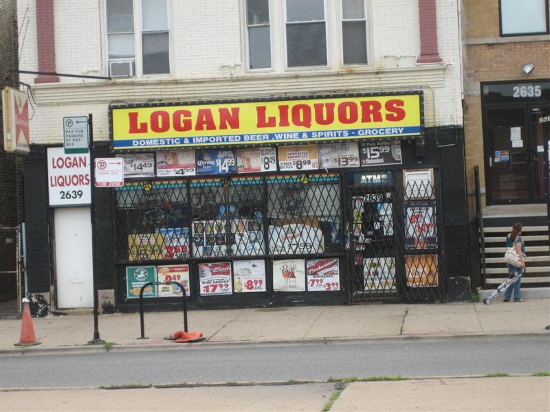 The front of Logan Liquors.