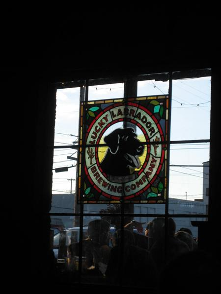 Looking outside into the beer garden