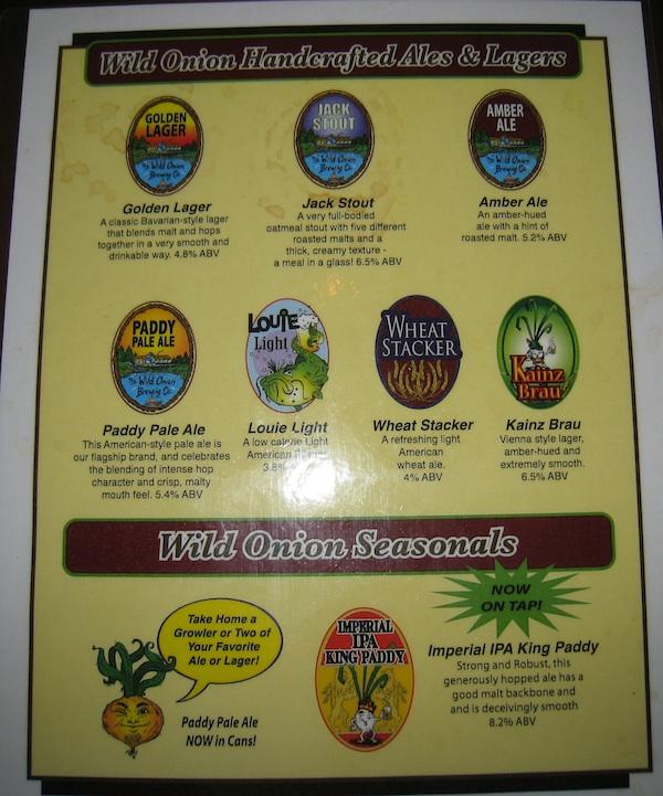 Onion Pub beer list